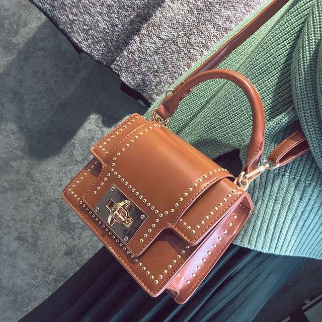 8e70125f0bcc Small Flap Bag Women Luxury Brand Punk Retro PU Leather Shoulder Bag Black  Rivet Studded Crossbody Handbag Top-handle Purse Lock