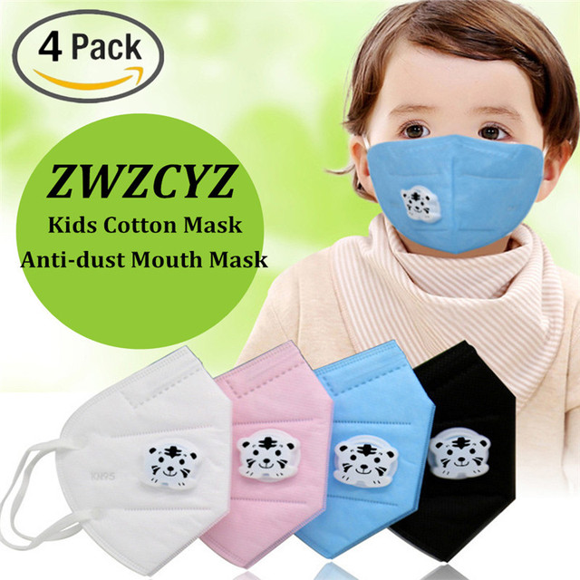 PM2.5 Anti-Dust Mouth Mask for Kids Cute Tiger Pattern Mask Disposable Non-Woven Fabric Masks With Respiration Valve 4 Pack