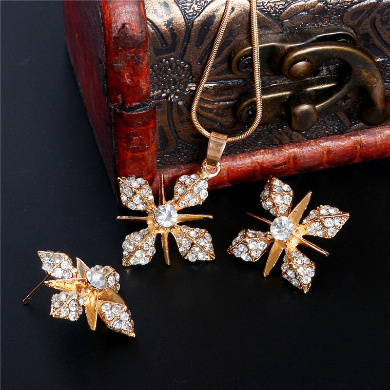 Hesiod Brilliant Cross Jewelry Sets Wedding Party Women Crystal Rhinestone Pendant Necklace Earrings Sets Valentines Day Gifts