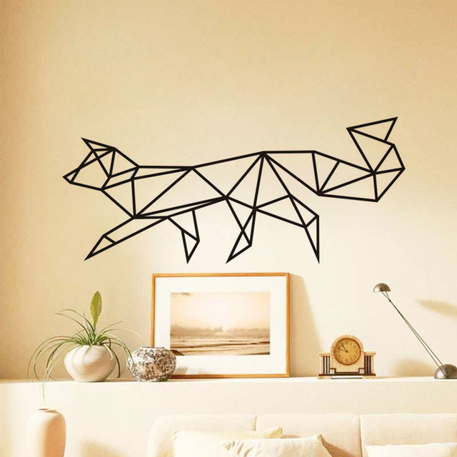 Geometric Fox Wall Stickers Home Decor Living Room Removable Wall Decals  Vinyl Art Wallpaper Home Decoration