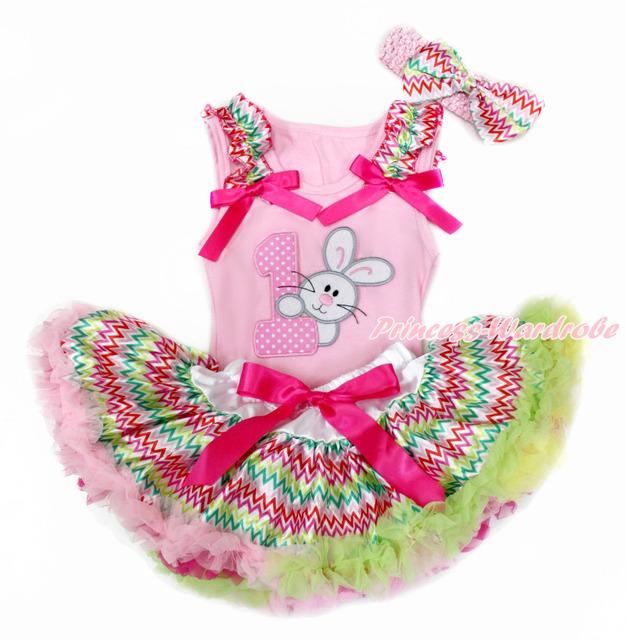 Pink pascua superior del bebé con arco iris de onda & Hot Pink Bow con conejo de conejito primera y arco iris de onda Pettiskirt del bebé con la venda MABG142