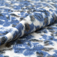Knit wool viscose thick fabric, fuzzy stretchy fabric, blue dots, abstract pattern, sew for overcoat, craft by the yard