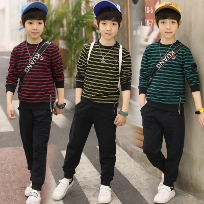 Childrens sports suit boys spring two-piece 2018 new childrens clothing children spring and autumn childrens clothing stripes