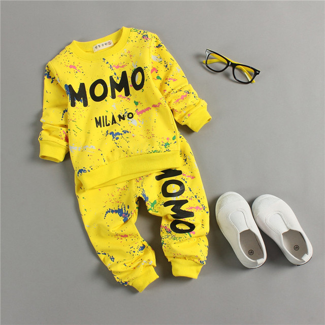 Baby Girl Clothes 2016 Autumn Fashion Printing Graffiti Newborn Baby Boy Clothes Set Infant Girl Long Sleeve Clothing Sets 6M-3T