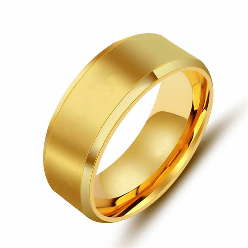 Fashion Rings Square Big Width Rings 24K Titanium Steel man Finger Silver Black Gold Men Ring Jewelry anel rings for women