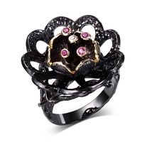 2017 New Fashion 2 Tone plated evening cocktail rings with aaa cubic zircon black flower rings for women