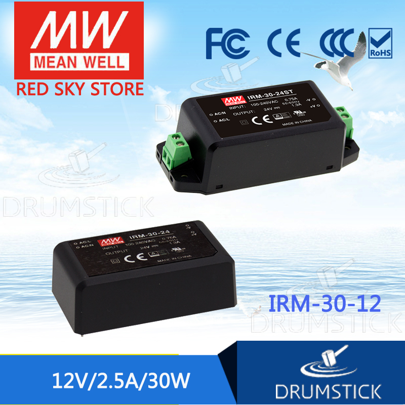 hot-selling MEAN WELL IRM-30-12 12V 2.5A meanwell IRM-30 12V 30W PCB mounting style  genuine mean well irm 60 12st 12v 5a meanwell irm 60 12v 60w screw terminal style