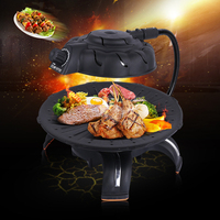 220V Portable Household Electric Barbecue Grill Couple Family Party Smokeless Roasting BBQ Grill Mini Indoor Cooking