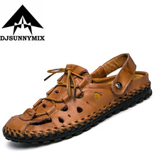 DJSUNNYMIX Men's 100% Genuine Leather New Famous Brand Casual Men sandals Slippers Summer Shoes Beach flip flops chinelo masculi