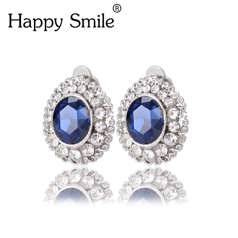 Faceted Crystal Clip Earrings No Hole Without Piercing Puncture Silver Plated Flower On