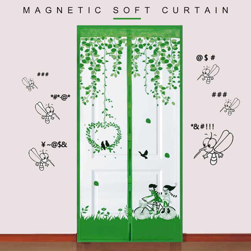 Magnet Mosquito Net Summer Anti-Mosquito Mesh Durable Bicycle Lovers Pattern Anti-Insect Fly Patio Magnetic Door Curtains
