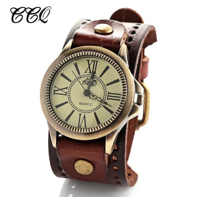 1cfcde9a34d Moda Pulseira de Couro Relógios para Homens Mulheres Vintage Vestido Romano  relógios de Pulso Negócios Quartz