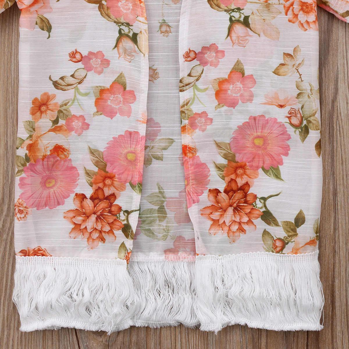 Emmababy для маленьких девочек новый с цветочным принтом на лето и весну Тонкий Пляж Верхняя одежда пальто