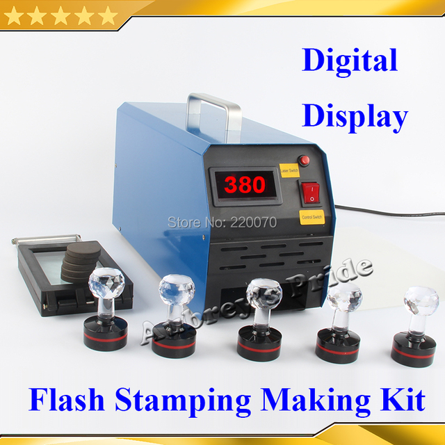 Free Shipping 42MM Photosensitive Portrait Flash Stamp Machine Kit Self Inking Stamping Making Seal Pad Paper Film