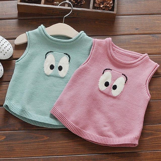 2017 nuevo otoño niñas chaleco chaleco niños clothing jersey de punto chaleco de los cabritos ropa de las muchachas niños ropa rosa verde lindo chaleco