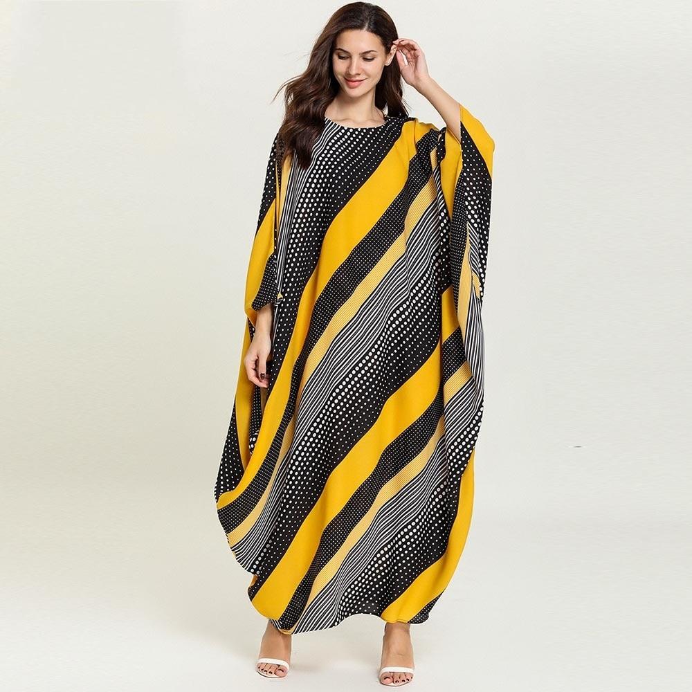 Africa Clothing Trendy Stripe Printed Long Sleeve Maxi Dress Women Autumn Robe Long Party African Dress Abaya