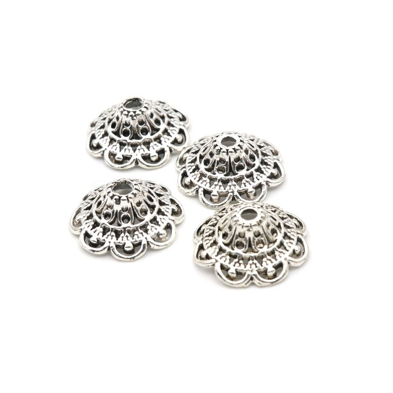 20pcs lot 18X8mm Flower Antique Silver Loose Spacer Hollow Out Bead Caps For Jewelry Finding Jewelry Handmade Diy Accessories in Beads from Jewelry Accessories