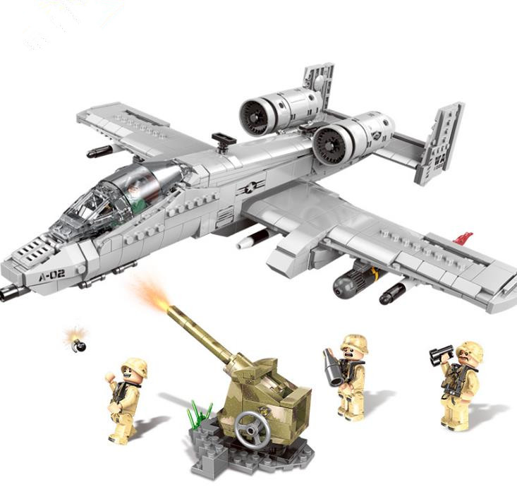 XINGBAO 06022 Military The A10 Fighter Building Blocks Thunderbolt II Warthog Fighter DIY WW2 Plane Brick Toys Gift For Children
