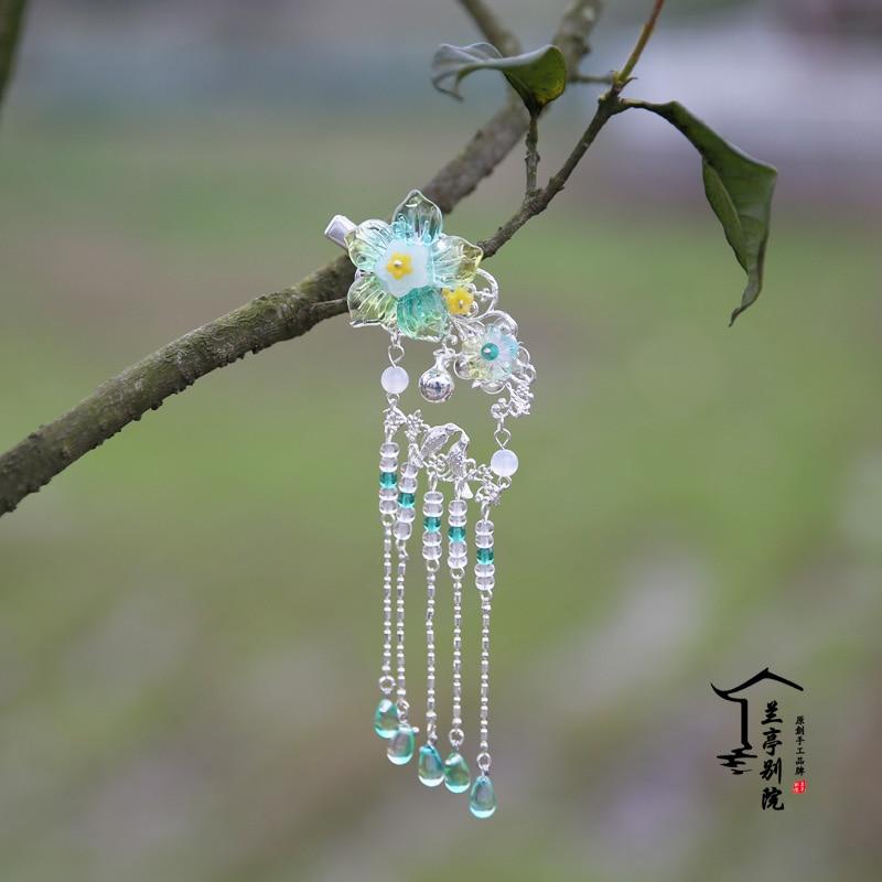 Qing Ling'Er Spring Simple Flower Bell Hair Clip Vintage Hanfu Accessories and Earrings