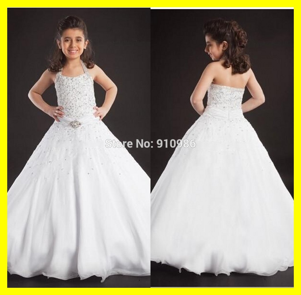 Miniature Bride Dresses Halter Sleeveless Beading Ball Gown Floor Length Organza Customized 2017 Free Shipping In Flower From Weddings Events