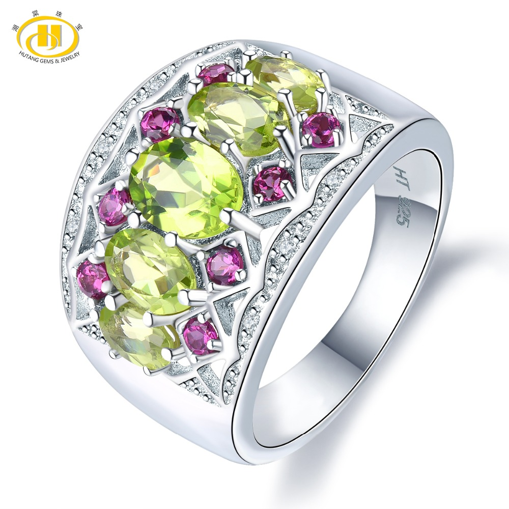 Hutang Engagement Wedding Rings Natural Peridot Garnet 925 Sterling Silver Ring Fine Fashion Gemstone Jewelry for Womens GiftHutang Engagement Wedding Rings Natural Peridot Garnet 925 Sterling Silver Ring Fine Fashion Gemstone Jewelry for Womens Gift