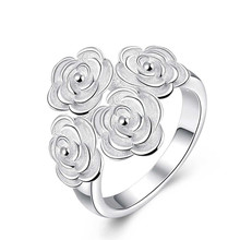 2016 fashion design silver rose flower ring jewelry romantic party style high-quality global hot