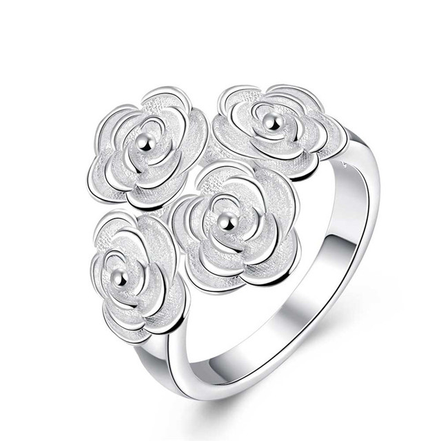 2016 Fashion Design Silver Rose Flower Ring Jewelry Romantic Party Style High Quality Global Hot