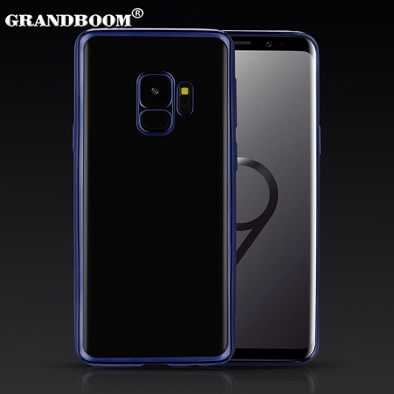 50pcs Electroplating Gilded Soft TPU Case For Samsung S9 8 Plus Note 9 8 A8 6 Plus 2018 Ultra Thin Plating Clear Silicone Cover