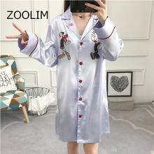 ZOOLIM Pink Women Satin Nightdress Nightshirts Autumn Fashion Simple Silk Nightgowns Cartoon Nightwear Sleepwear Night Shirts women nightgowns satin sleepwear nightshirts half sleeve silk night shirts loose night dress summer nightdress sleepshirts