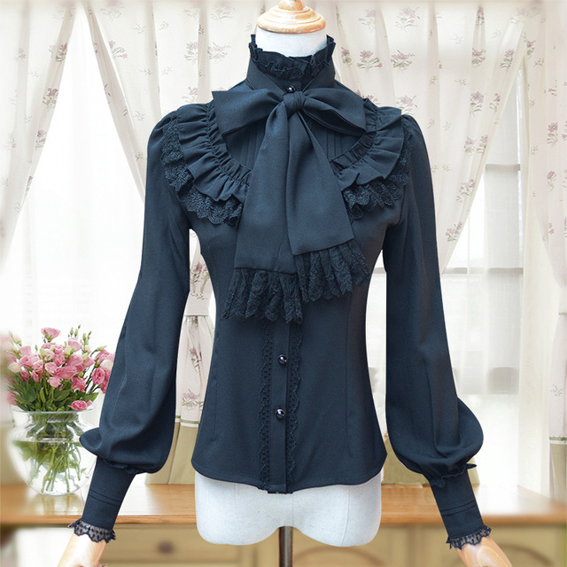 1ca444824bd285 Black Bows   Ruffles Stand Collar Gothic Victorian Blouses For Women Long  Sleeve Blouse Chiffon Shirt Used To Match Corset 2017