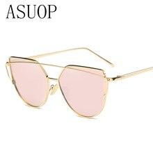 ASUOP New Fashion Sunglasses Women Men Cat eyes Sunglasses Retro Brand Designer Double Beam large Plane Glasses UV400 Sunglasses