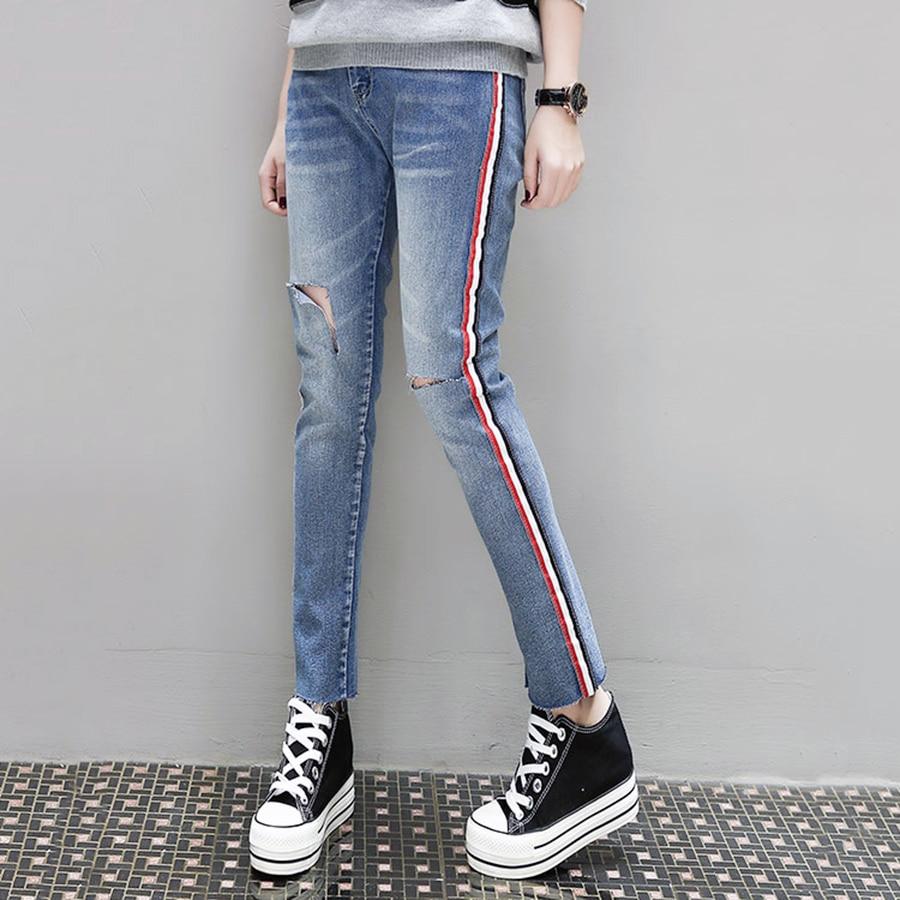casual pants skinny stripe jeans woman low waist summer. Black Bedroom Furniture Sets. Home Design Ideas