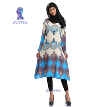 Middle East Long Robe Gowns Turkish National Wind Print Islamic Prayer Clothing Casual Muslim Women's Shirt Dress Print Tops