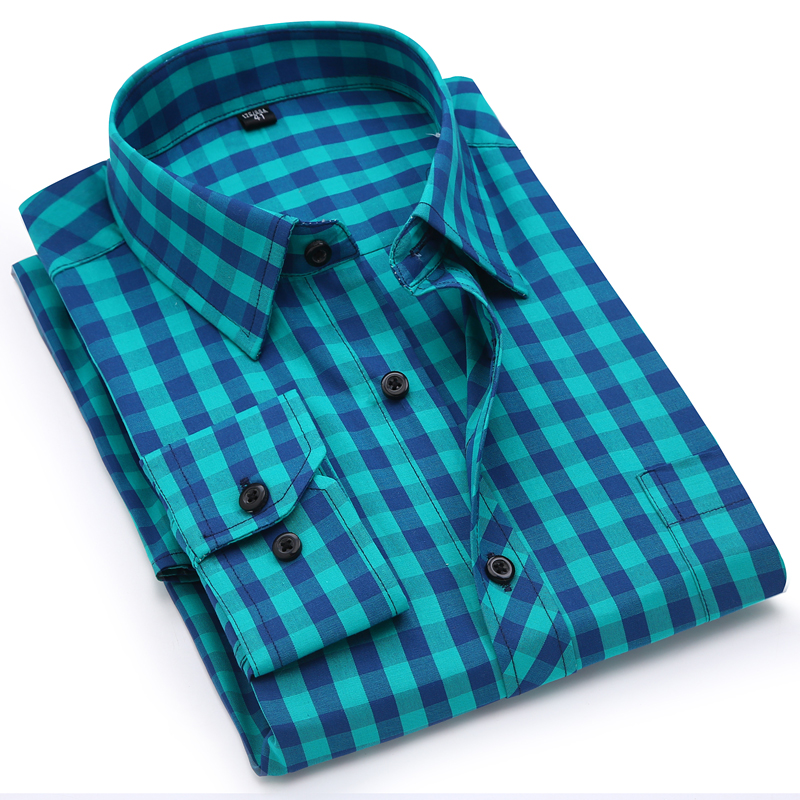 Men's Stylish Checkered Plaid Pattern Dress Shirts Patch Chest Pocket Smart Casual Standard-Fit Long Sleeve Cotton Shirt
