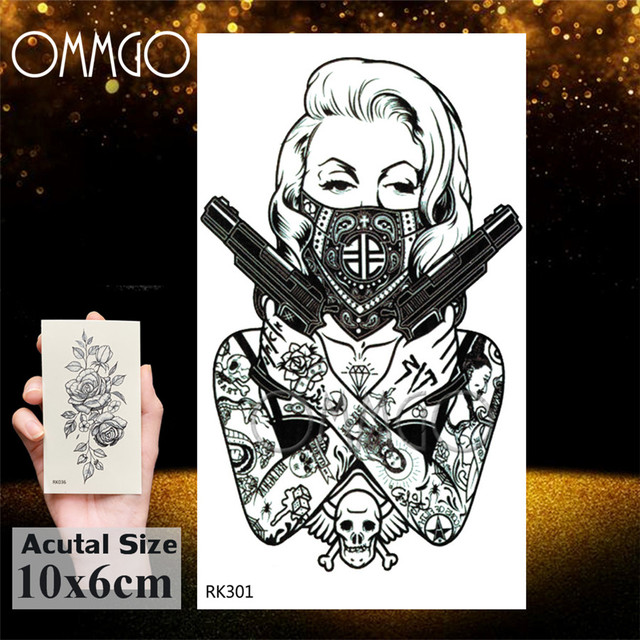 3D Rhombus Triangle Skull Nun Temporary Tattoo Sticker For Men Women Arm Leg Tatoo Paper Waterproof Body Art Black Tattoos