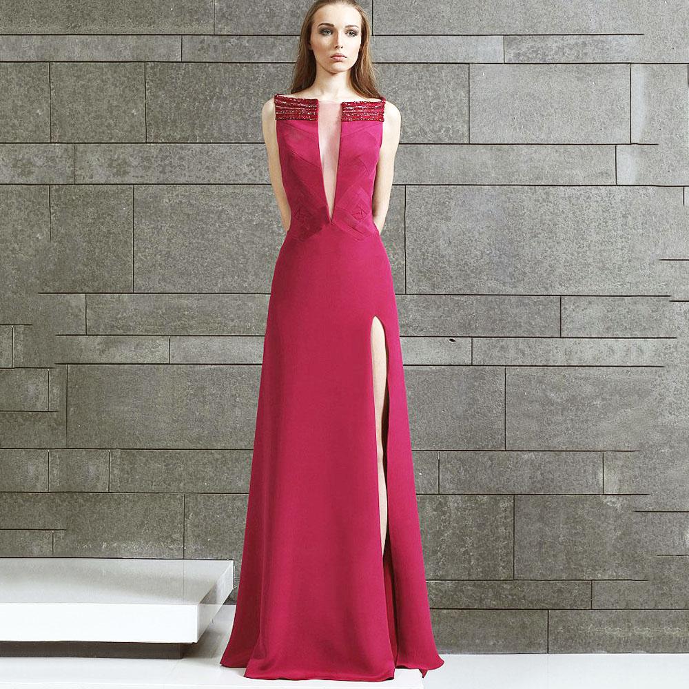 Cheap Burgundy Evening Dress Long abendkleider vestidos Elegant ...