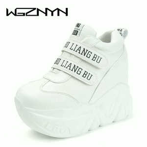 Image 2 - WGZNYN אביב סתיו 12 Cm סופר Hihg טרז נעלי אישה סניקרס נקבה נעליים יומיומיות וו לולאה נוח פלטפורמת Sneaker W05