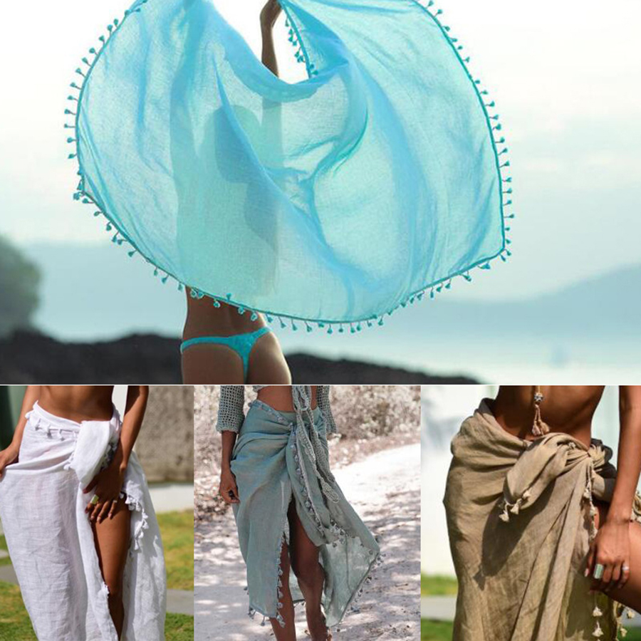 2019 Sexy Beach Cover Ups Tassel Beach Dress Wrap Skirt Bikinis Women Swimsuit Cover Up Solid Pareo Beach Wear Chiffon Robe Plag in Cover Ups from Sports Entertainment