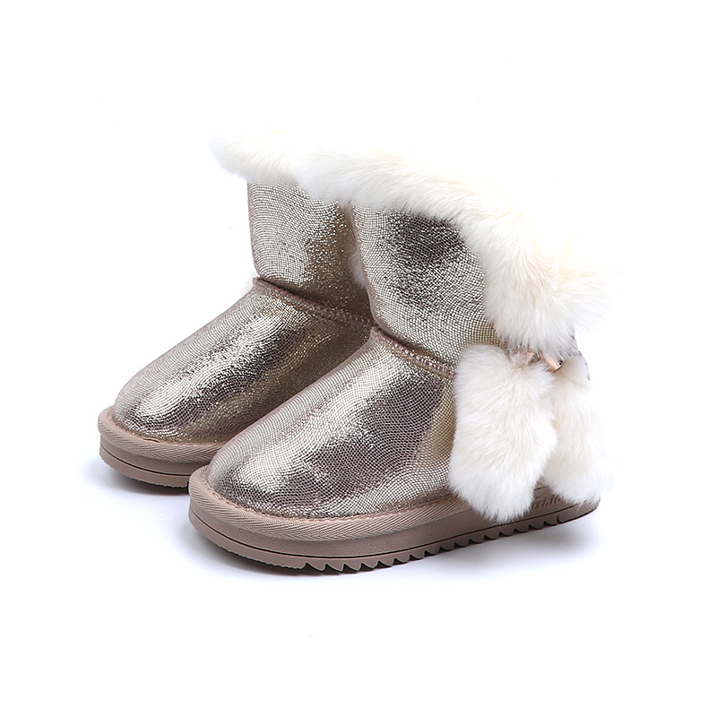 цена на Mid Calf Kids Boots 2018 New Fur Warm Winter Girls Shoes Slip On Children Rubber Boot Black Golden Gray 4 5 6 years