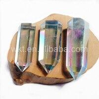 WT G163 10pcs Angel Opal Crystal Quartz Point Stone Single Point Angel Opal Crystal Quartz Free