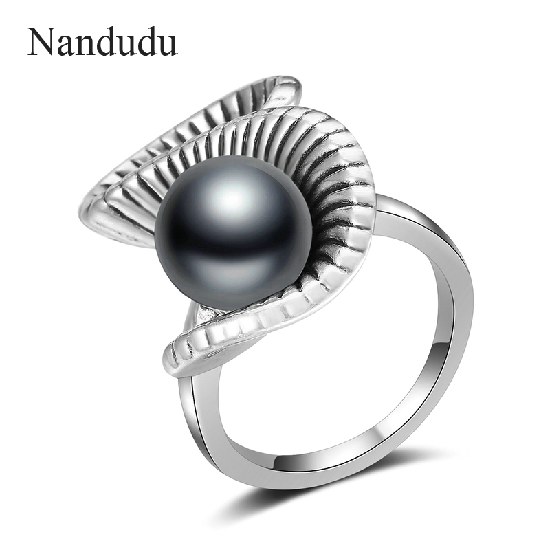 Nandudu Retro Silver Color S Style Ring with Black Pearl for Women Girl Lady Rings Accessories Jewelry Gift R1998 trendy retro style faux black pearl and lace decorated hollow out body jewelry for women