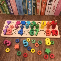 3 In 1 Digital Shape Montessori Math Toys Pairing Rainbow Rings Preschool Counting Board Educational Wooden Toys for Children