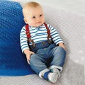 Baby Boy Long Sleeve T-shirt +Jeans Bib Pants Overall Outfit Clothes Set 2 Pcs S01