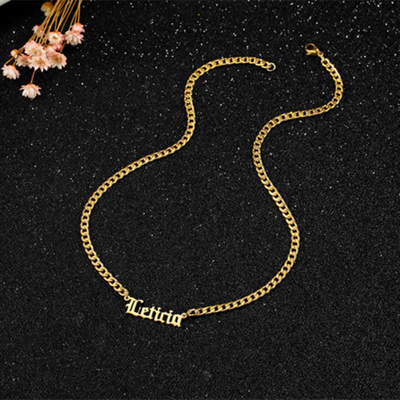 name necklace with thick chain