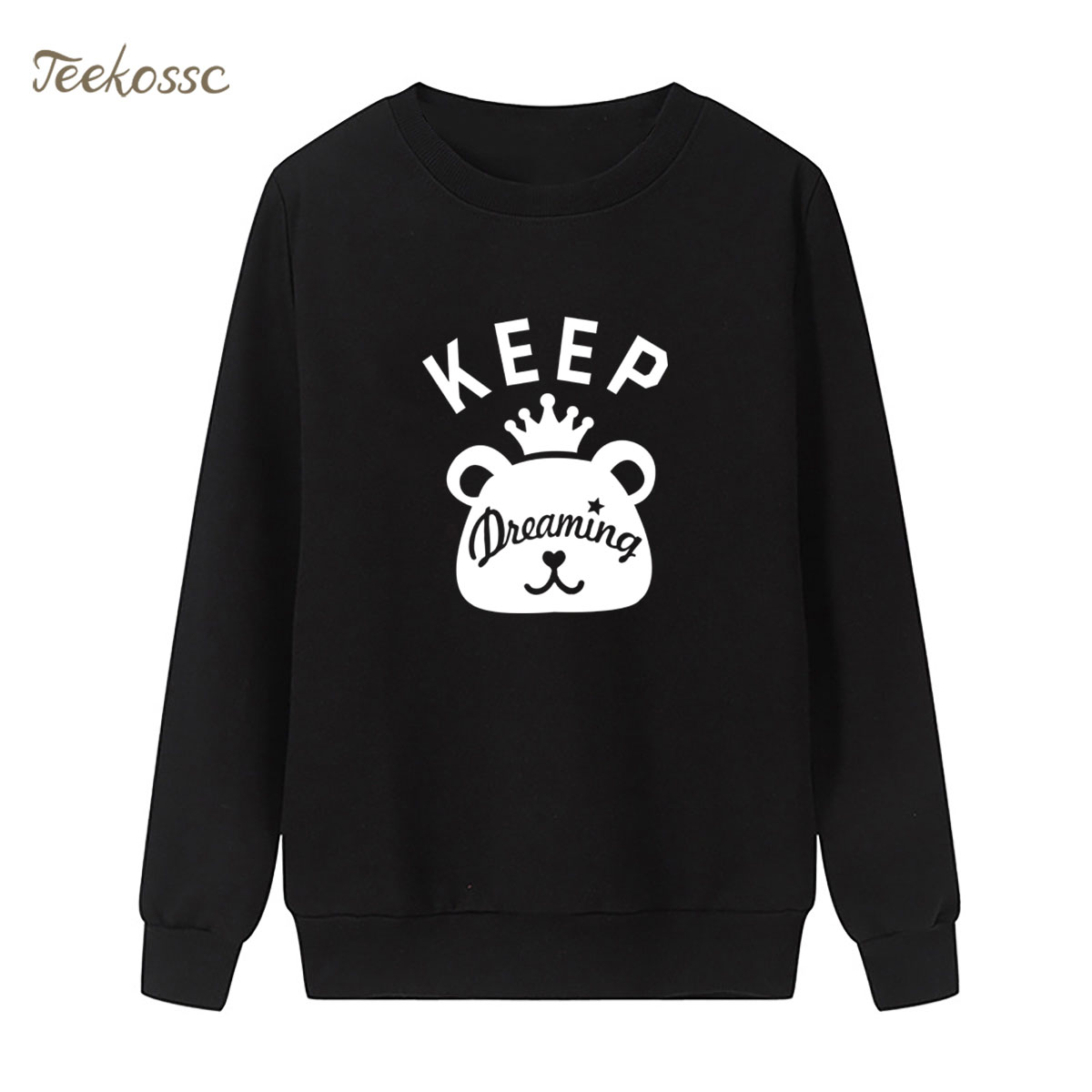 Bear Keep Dreaming Sweatshirt Print Hoodie 2018 New Brand Winter Autumn Women Lasdies Pullover Fleece Streetwear Cute Sportswear