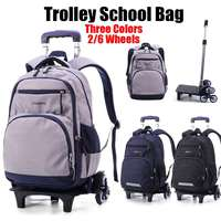 Nylon Removable Men travel Bags for Boys Waterproof Trolley Backpack Teenager 2/6 Wheeled Bag Bookbag Travel Bags Back to school
