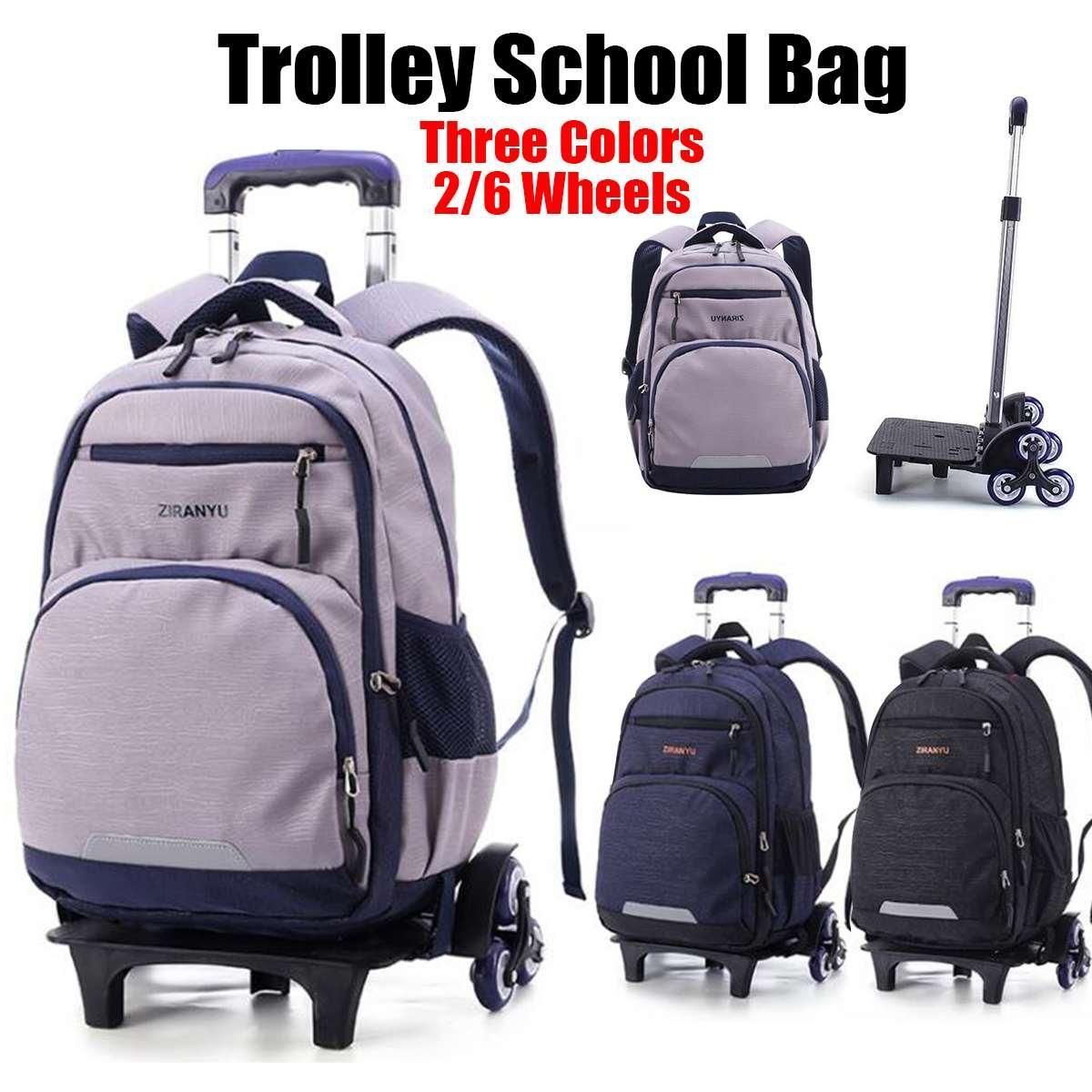 Nylon amovible hommes sacs de voyage pour garçons étanche Trolley sac à dos adolescent 2/6 sac à roulettes sac de voyage sacs de retour à l'école