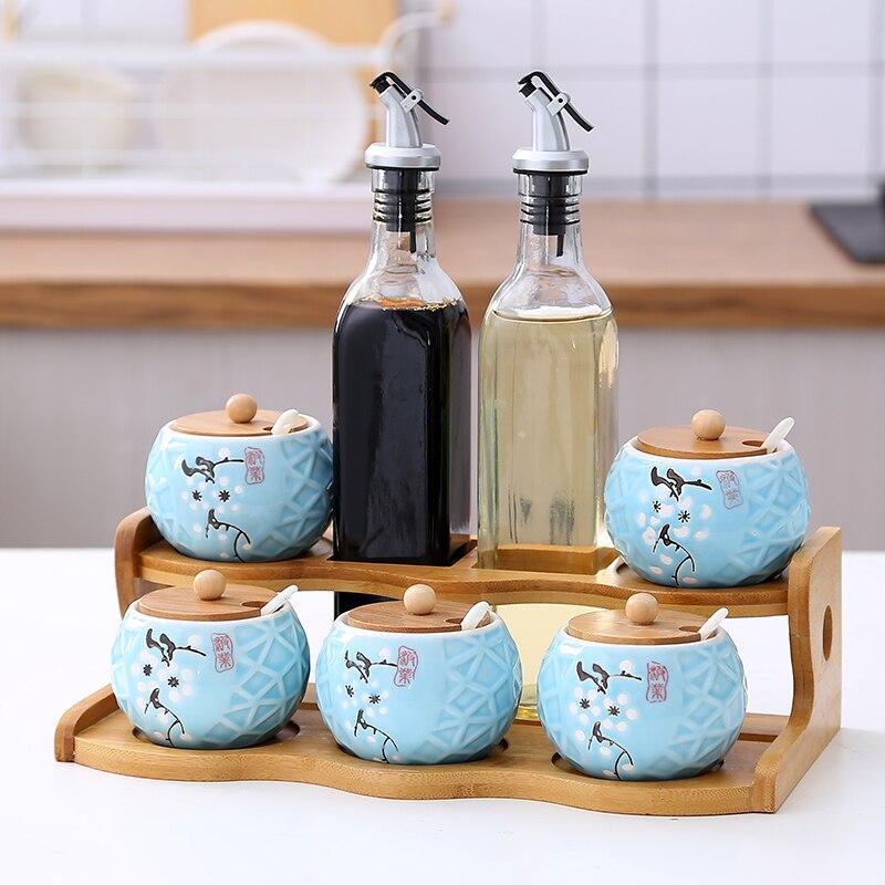 Cuisine assaisonnement réservoir verre tiroir type réservoir de sel bambou rack assaisonnement boîte en céramique huile bouteille stockage en céramique pot bidons