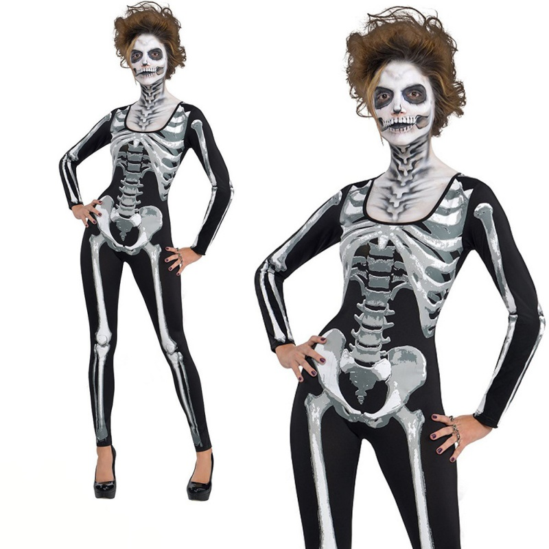 f8adced5b16 Halloween Skeleton Print Scary Horror Costume Play suit NEW Lange Ghost  Clothes Strech Black Party Cosplay Jumpsuit Bodysuit