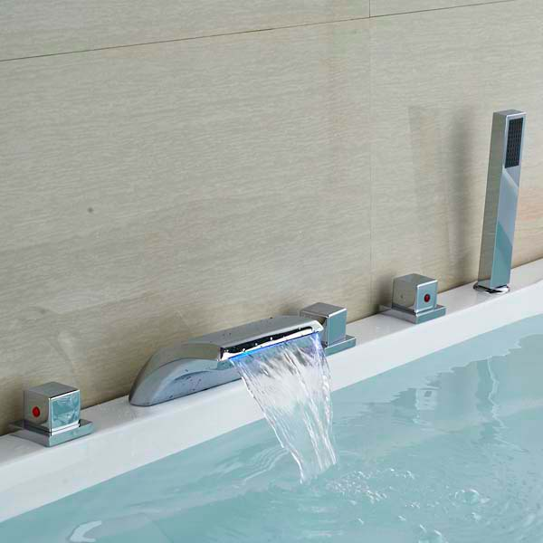 Chrome Brass Square Handles LED Waterfall Bathroom Basin Faucet Mixer Tap water power faucet temperature controlled 3 colors led waterfall basin tap brass chrome bathroom faucet b 9001